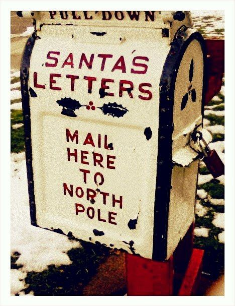 COOL idea::: Make (or purchase an antique) custom Post box specifically for the kiddos to mail letters to Santa ~ from the store❣❣ There should be fluffy snow & a little bit of the North Pole ALL around anyhoo.....