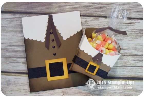 "BLOG HOP & VIDEO: Thanksgiving Pilgrim Box and Card Set. ——— STAMPIN UP SUPPLIES ——— • Soft Suede 8-1/2"" X 11"" Card Stock #115318 • Early Espresso Classic Stampin' Pad #126974 • Crushed Curry 8-1/2"" X 11"" Cardstock #131199 • Crushed Curry Classic Stampin' Pad #131173 • Very Vanilla 8-1/2X11 Card Stock #101650 • Basic Black 8-1/2X11 Card Stock #121045 • Neutrals Candy Dots #130934 • Early Espresso 1/2"" Seam Binding Ribbon #134582 • Stamping Sponges #101610"