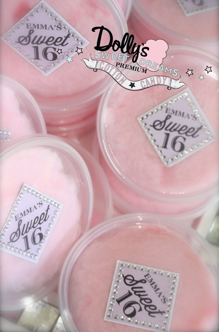 16 does not get much sweeter than this! Custom 8oz. cotton candy party favors by Dolly's Sweet Dreams Cotton Candy are a sweet memento of your special day even after the candy is gone! 8oz. tubs are only $1 each!
