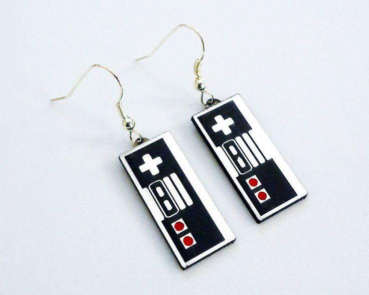 Nintendo Controller silver fish hook earrings in FREE gift box. $15.00, via Etsy.