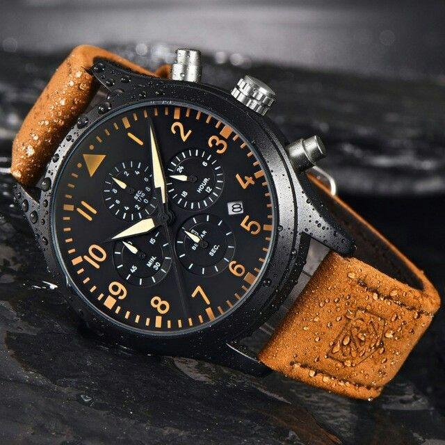 BENYAR Pilot Series Genuine Leather Quartz Watches Men Waterproof 30m Fashion Sport Chronograph Watch relogio masculino Clock