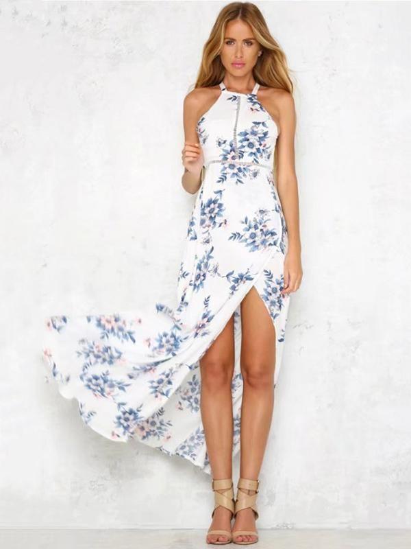 Blue Floral Print Halterneck Sleeveless Maxi Dress