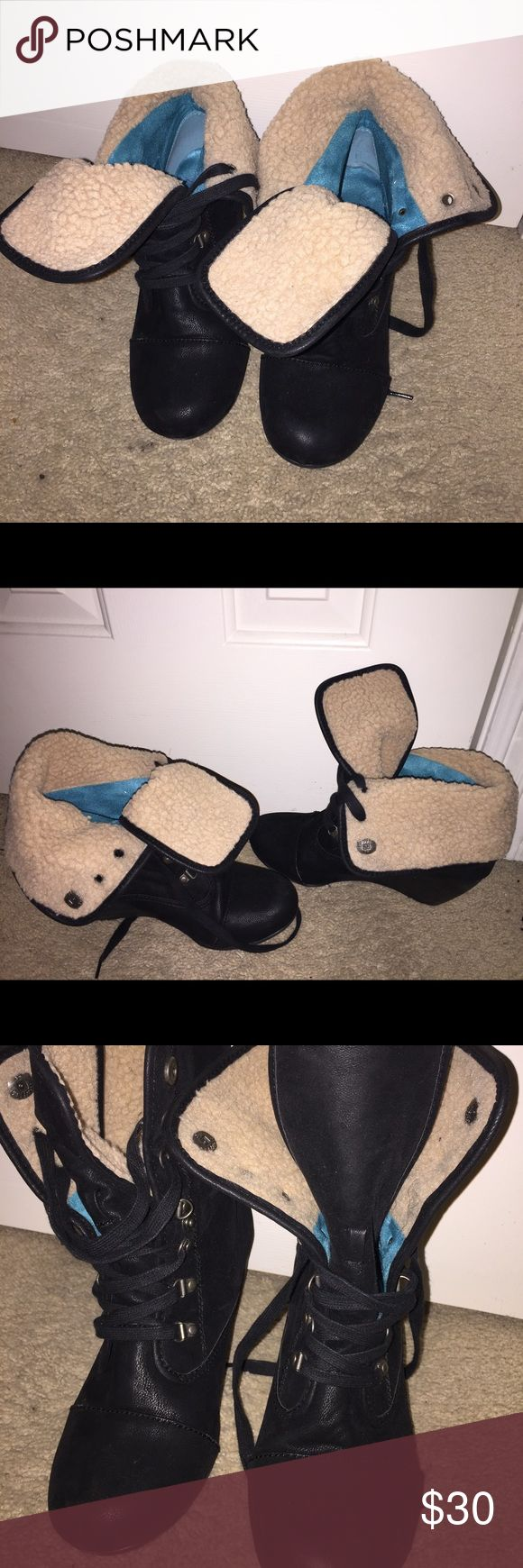 Black suede wedge boots These are cute black booties that have been worn slightly and are in great shape. Shoes Wedges