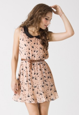 Swallow Print Peter Pan Collar Dress -wear it now and then add tights and a cardigan for fall