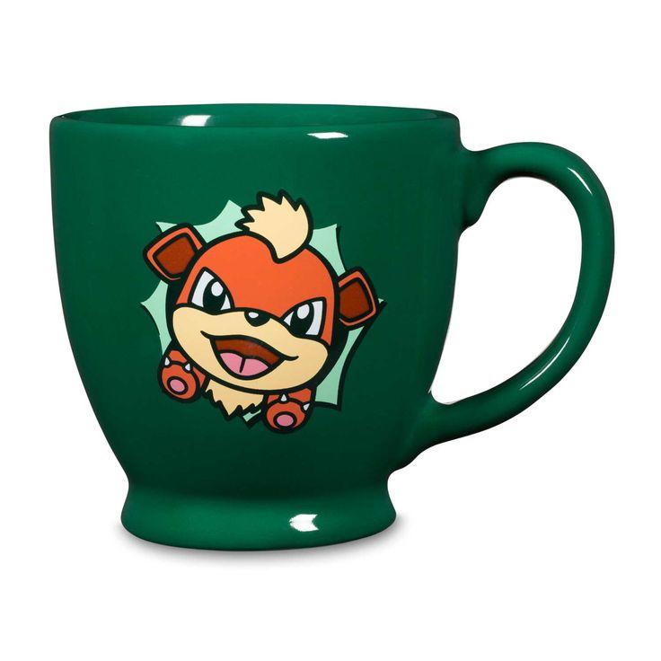 Official Growlithe Hip Pop Parade 12 ounce ceramic mug. Design of Growlithe popping out on both sides. Pokémon Center Original design.