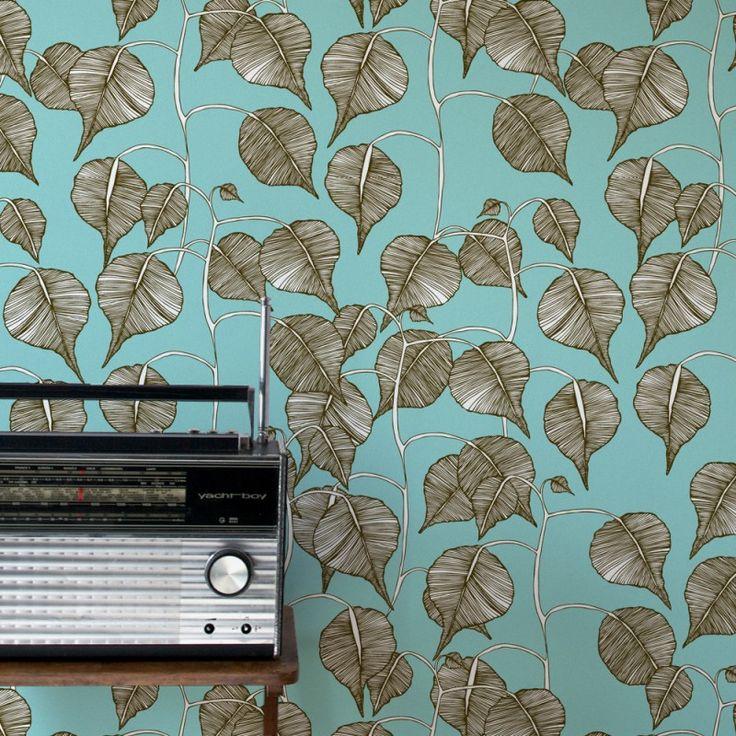 Swedish Leaf Wallpaper in Pewter | www.wallpaperantics.com.au