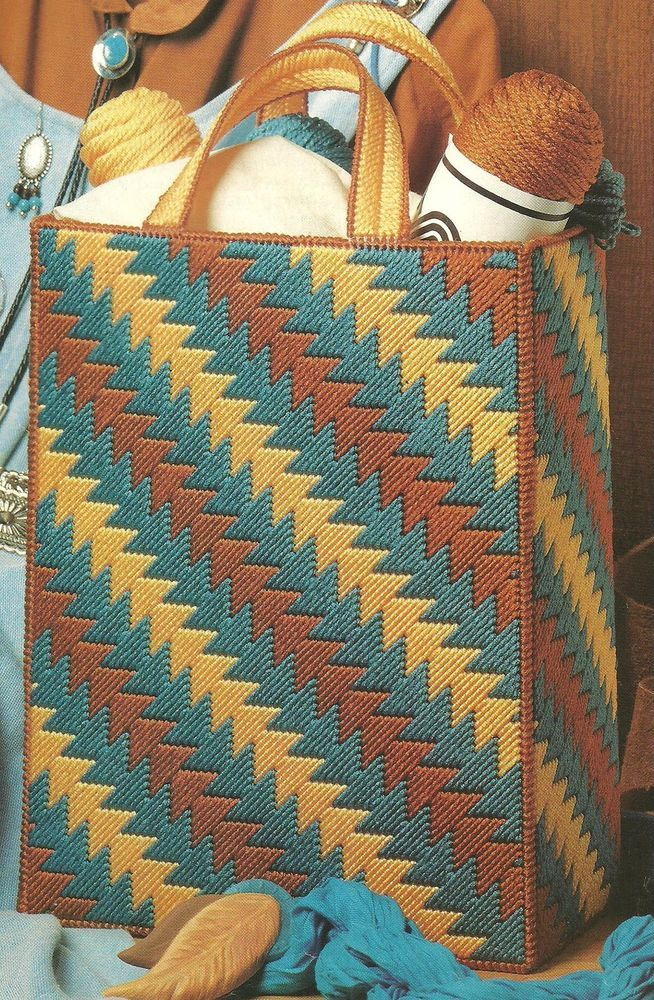 Indian Summer Tote Bag in plastic canvas PATTERN INSTRUCTIONS | eBay!