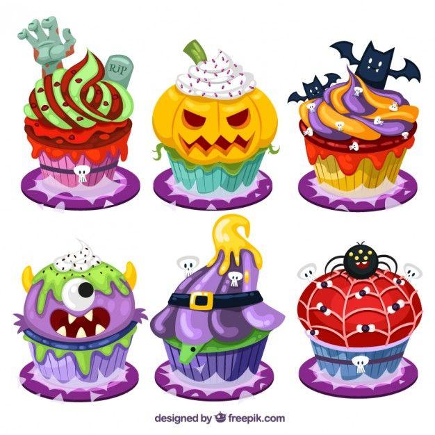 Мультфильм Хэллоуин кексы Бесплатный векторный