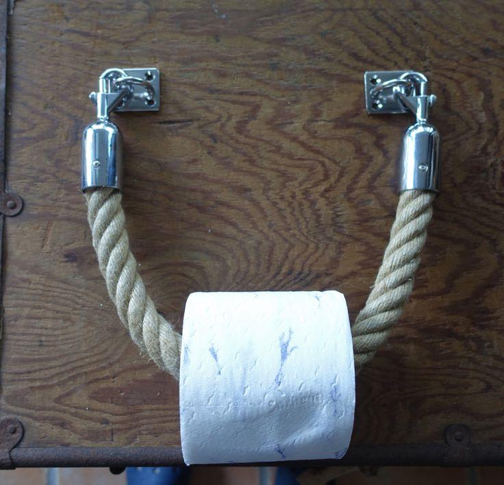 TOILET ROLL HOLDER handmade Hemp rope stainless steel fittings by JackTarsLocker on Etsy