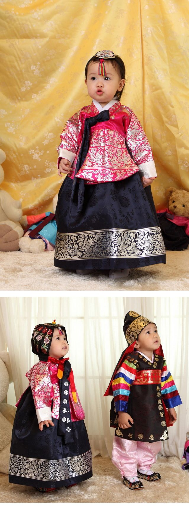 dress up Korean traditional clothing(hanbok) for kids. Korean dress for girl, Korean clothes for boy.