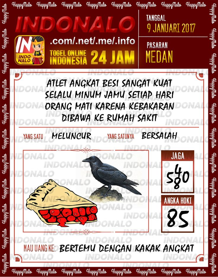 Kode Jaga 6D Togel Wap Online Live Draw 4D Indonalo Medan 9 Januari 2017