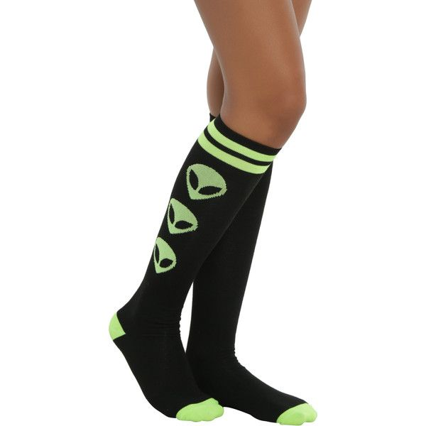 Loungefly Alien We Out Here Knee High Socks (12 CAD) ❤ liked on Polyvore featuring intimates, hosiery, socks, knee socks, knee high socks, loungefly, neon green socks and neon green knee high socks