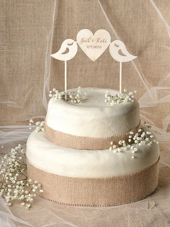 Rustic Cake Topper Wood Cake Topper Lovebirds by 4LOVEPolkaDots, $30.00