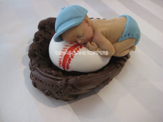 Baseball Glove Baby Shower 1st Birthday Cake Topper Smash Cake Topper. $30.00, via Etsy.