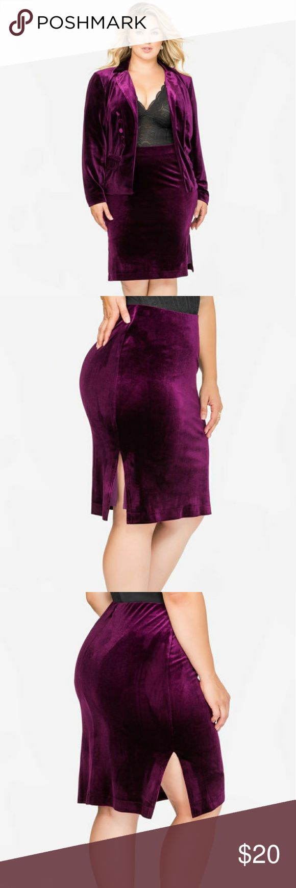 PURPLE VELVET SIDE SLIT PENCIL SKIRT Rich, Deep plum purple velvet skirt with slits on each side. Sexy, sultry and so on-trend, this plus size velvet skirt will be a fierce option for day or night.  Elastic waist. Invisible back zip closure. Side slit. Ashley Stewart Skirts Pencil