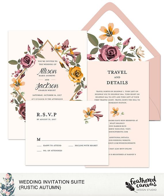 Rustic Wedding Invitation Suite Rustic Autumn