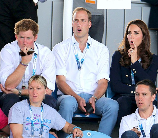 LOL! Princes Harry and William, along with Kate Middleton, reacted to the women's hockey game between Wales and Scotland at the 2014 Commonwealth Games.