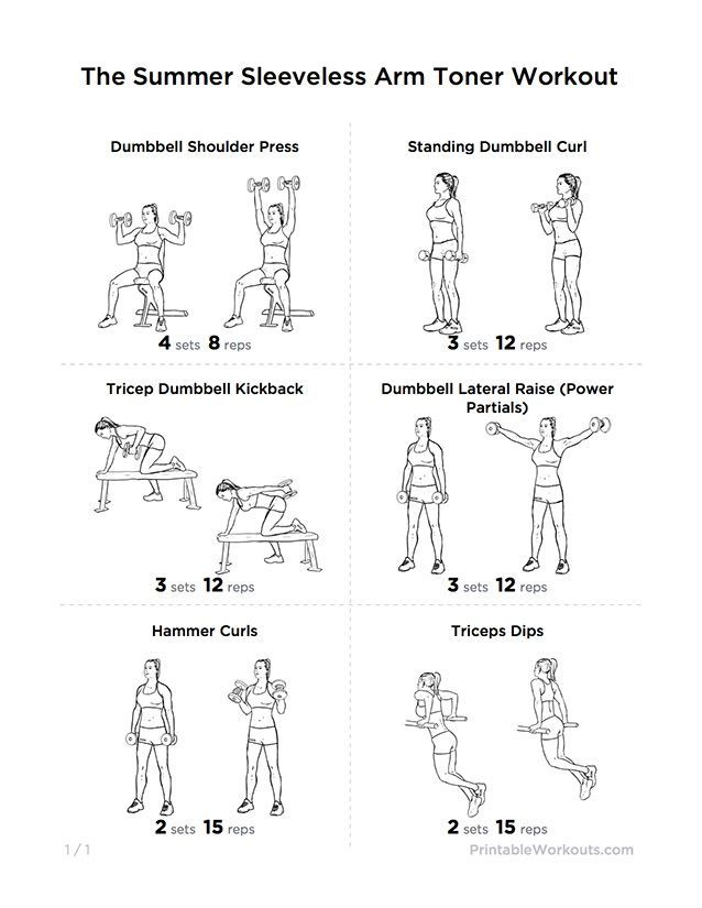 sleeveless summer arm toning printable workout - Google Search