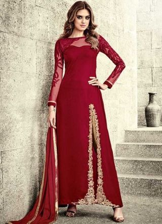 Red Embroidery Work Velvet Banarasi Silk Designer Fancy Pakistani Palazzo Suit http://www.angelnx.com/Salwar-Kameez/Pakistani-Suits