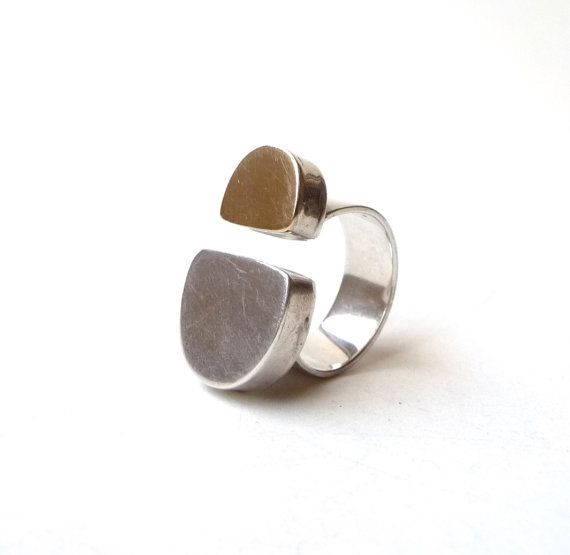 Modernist 14k Gold and Sterling Silver Ring