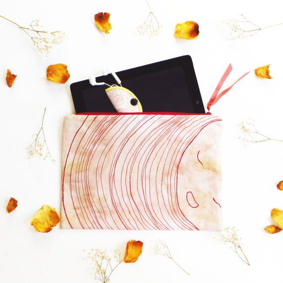 Eco-dye Oversize zipper clutch embroidered, zipper pouch, ipad sleeve - case, ipad cover, ipad bag, tablet cover, boho clutch bag