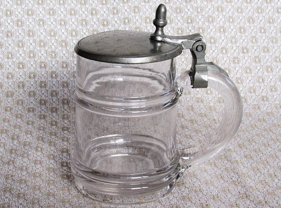 1880s  1890s small Glass Beer Stein Antique Acorn lever