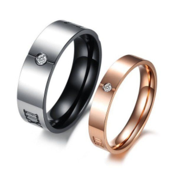 Anello di fidanzamento maschio-femmina in acciaio