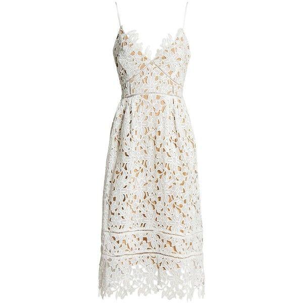Sans Souci Floral lace midi dress (200 PEN) ❤ liked on Polyvore featuring dresses, vestidos, white, white floral dress, white a line dress, pleated midi dress, floral print dress and floral dresses