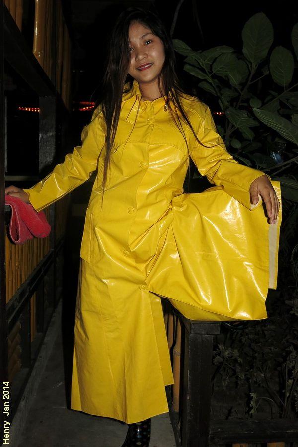 Vintage Yellow PVC Raincoat