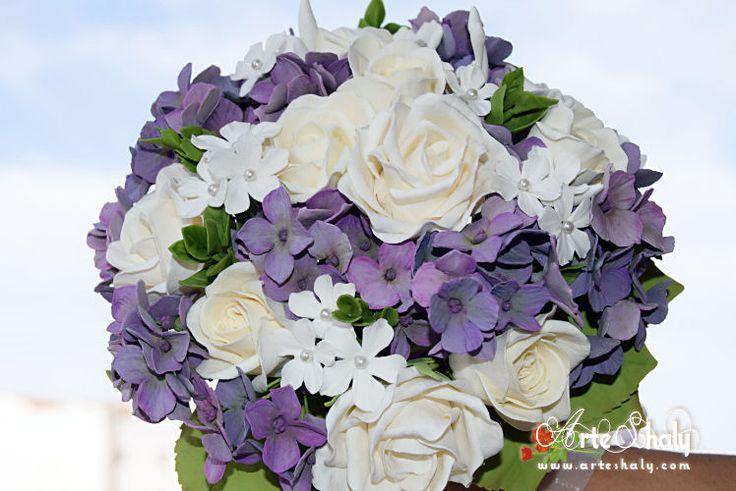 Bridal bouquet roses, hydrangeas and jasmine, handmade and custom