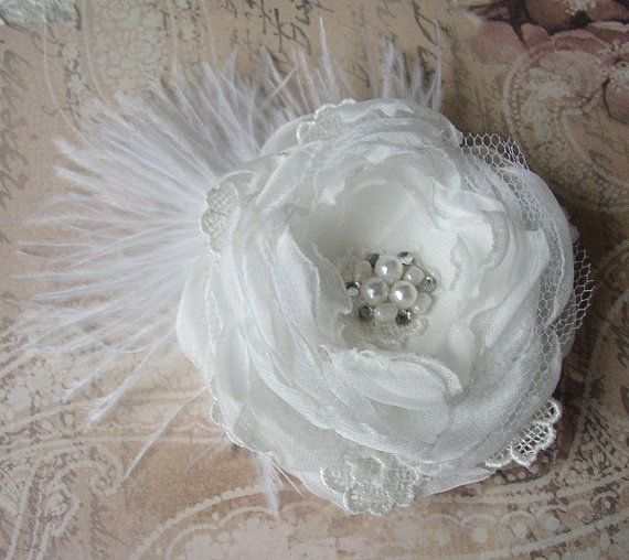 Pearl White Wedding Hair Piece White Hair Flower By