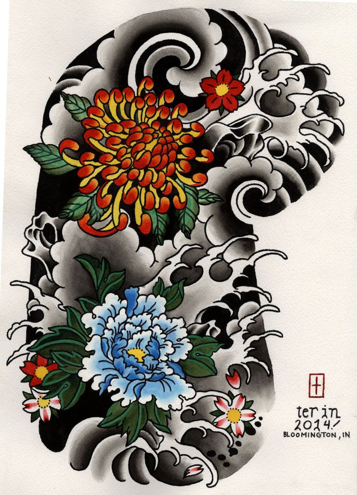 Japanese Floral Half Sleeve Tattoo Design