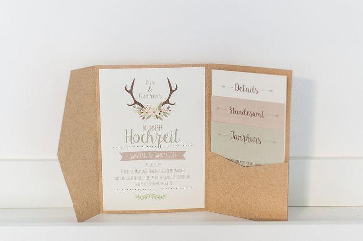 einladungskarten rustikal pocket fold ein designerst ck von angelika pfeifer bei dawanda. Black Bedroom Furniture Sets. Home Design Ideas