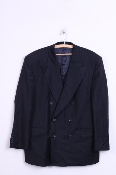 Windsor Mens 26 XL Blazer Jacket Wool Navy Double Breasted CARLO BARBER&C. Italy - RetrospectClothes