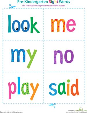 Preschool Sight Words Reading Flash Cards Worksheets: Pre-Kindergarten Sight Words: Look to Said Worksheet