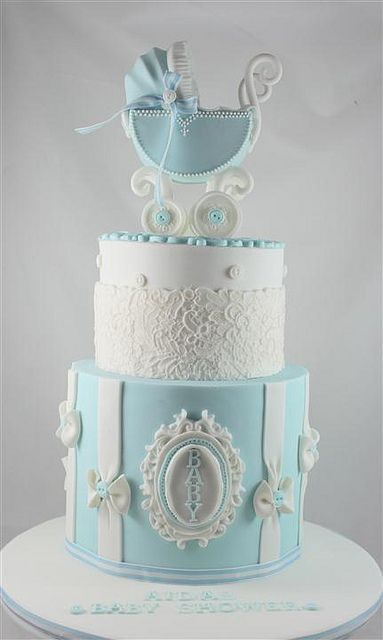 #baby shower cake #blue The color of this blue is just lovely.  Stunning Baby Shower Cake!