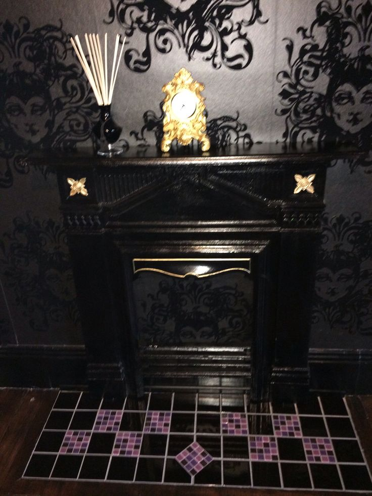 Malificent wallpaper Victorian fireplace gothic bedroom