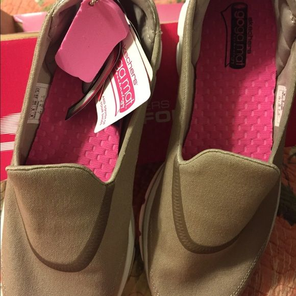Brand NEW Sketcher Go Walk 3! Tan and White  canvas Go Walk 3 with memory foam cushion.  NO TRADES & NO OFFERS On these please. Skechers Shoes