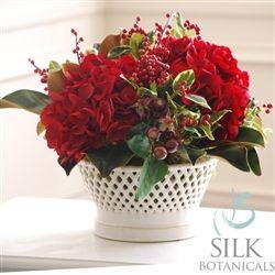 Holiday Hydrangea & Magnolia in Vermeil Vase 16 in.