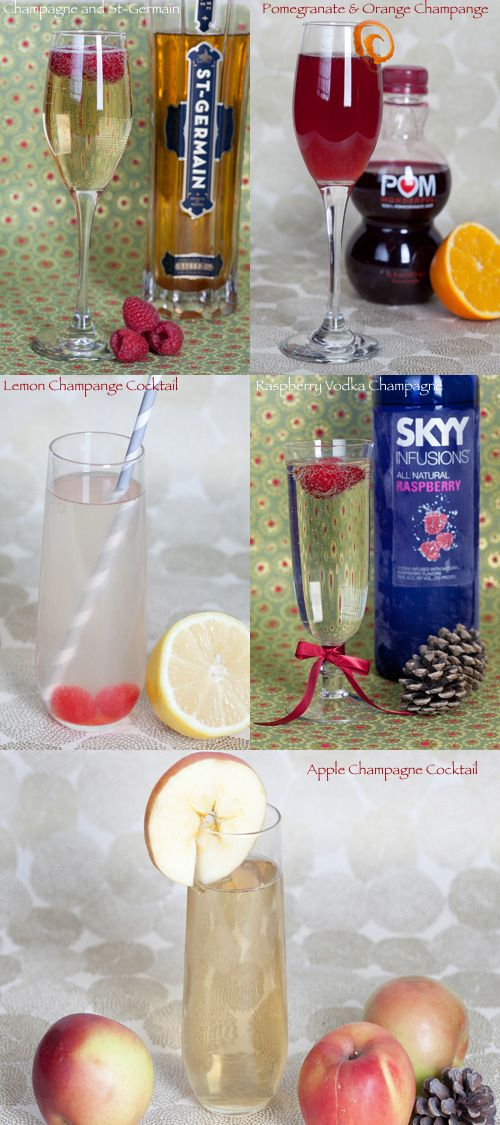 fabulous champagne cocktails, yummy!: Fab Champagne, Cocktails Collage, Champs Cocktails, Fabulous Champagne, Drinks, Apple Champagne, Champagne Cocktails, Rocks Ur Party'S Tabs, Cocktails Recipes