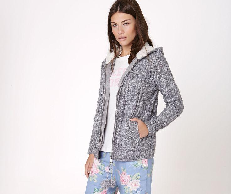 Aran knit cardigan with pompom trim - OYSHO