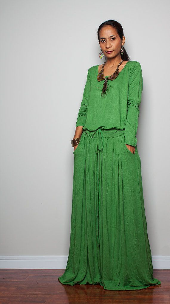 Green Maxi Dress PLUS SIZE Soft Green Long Sleeve от Nuichan