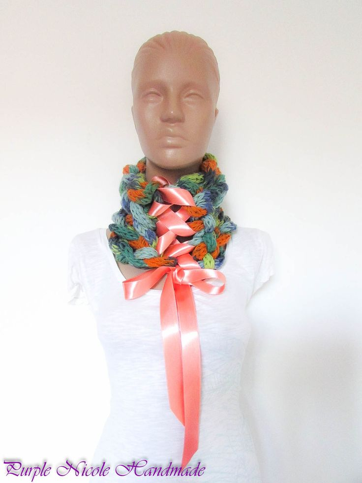 Blushing Victoria - Handmade Elegant Victorian Inspired Neckwarmer by Purple Nicole (Nicole Cea Mov), finger crocheted tubes, then braided and tied with a luscious satin ribbon.