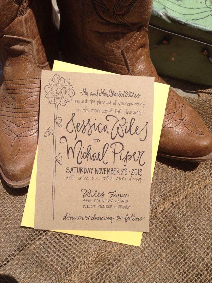 sunflower wedding invitations printable%0A Wedding Invitation Sunflower Kraft Calligraphy by GreySnailPress