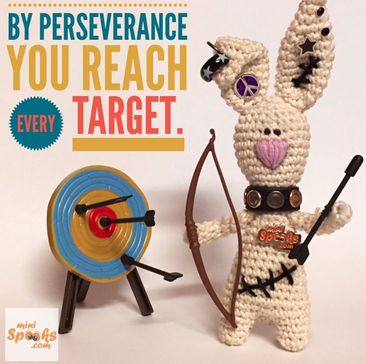 By perseverance you reach every target. ‪#‎minispooks‬ ‪#‎crochet‬ ‪#‎amigurumi‬ ‪#‎rabbit‬ ‪#‎perseverance‬ ‪#‎reach‬ ‪#‎target‬ ‪#‎quote‬