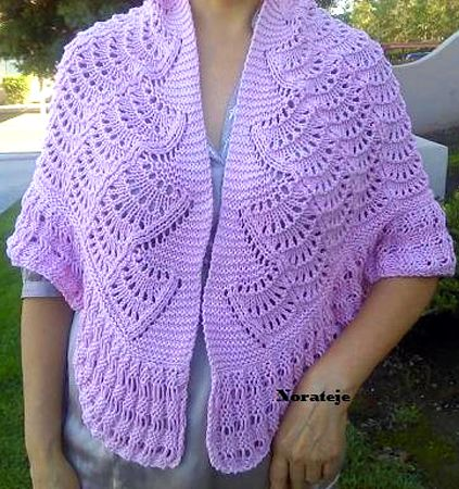 Knitting Pattern for Feather Stitch Shawl - This lace shawl is perfect for summer evenings. The designer lets knitters sell the finished shawls. #forme