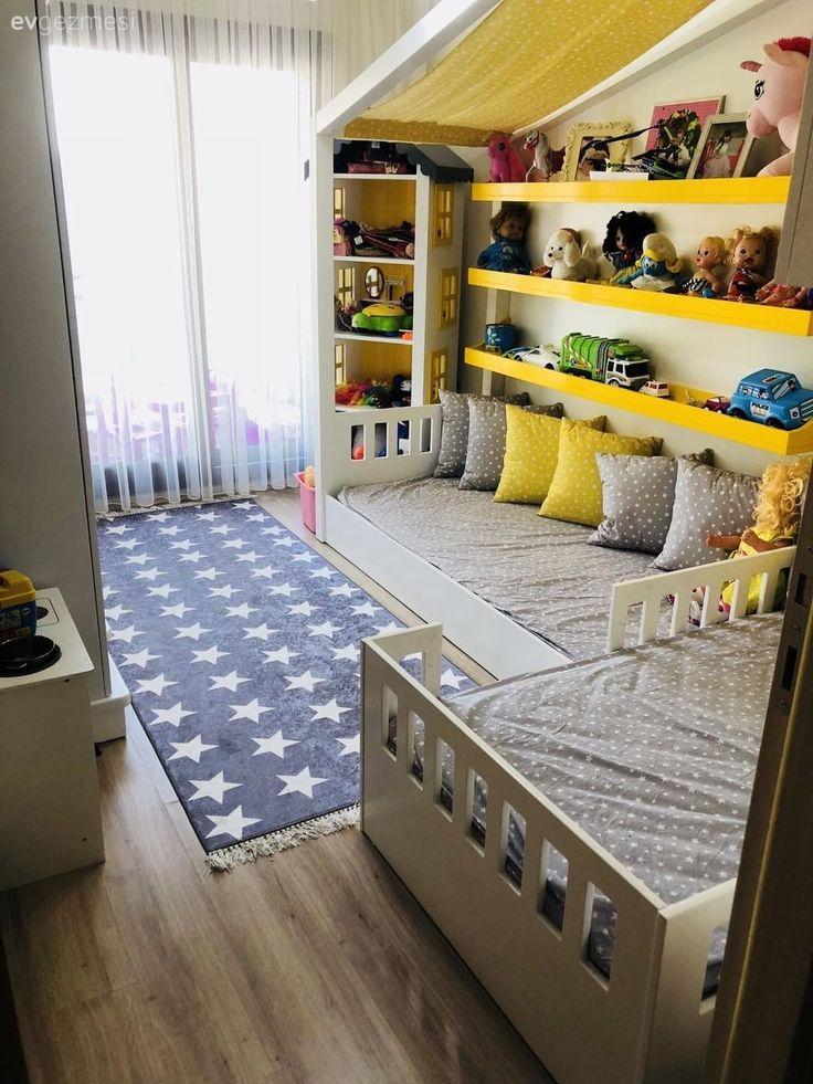 Kinderzimmer, Montessori-Kinderzimmer, Teppich, Gelb