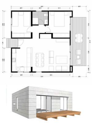 Planos Casas de Madera Prefabricadas: Plano 75 m2 2 modelo A