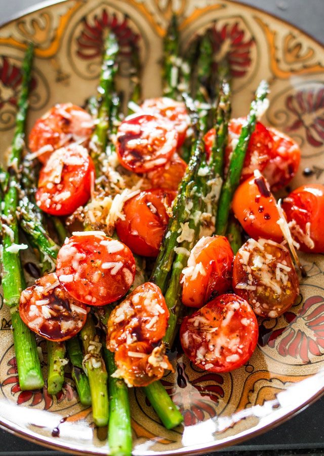 Balsamic Parmesan Roasted Asparagus and Tomatoes – roasting enhances the natural sweetness of the asparagus and tomatoes, add some grated Parmesan and a balsamic reduction for an amazing side dish.