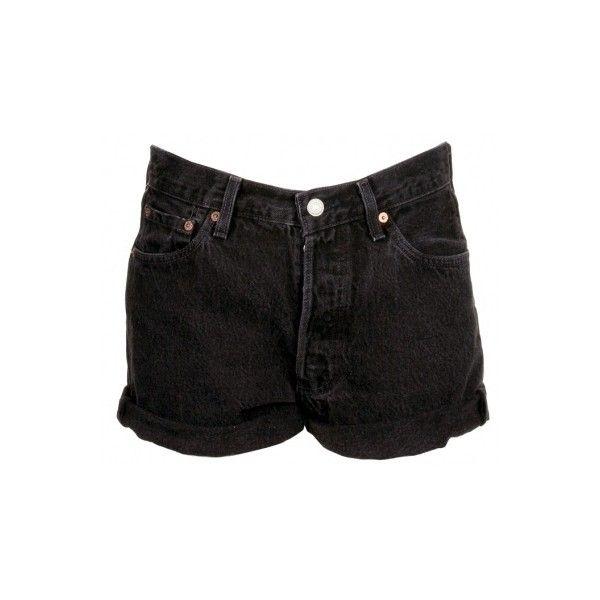 Levi's Black Denim Shorts ❤ liked on Polyvore featuring shorts, bottoms, short, denim shorts, cut off short shorts, jean shorts, short shorts, vintage jean shorts and denim cutoff shorts